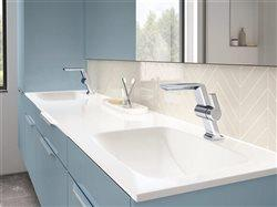 Cool modern faucets in upscale bath with double sink