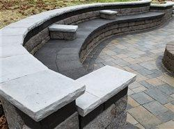 seating retaining wall in back yard
