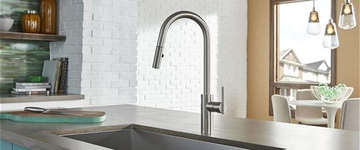 modern faucet and sink in upscale kitchen