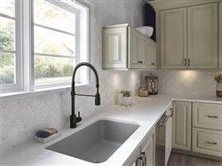upscale kitchen with pot filler faucet in country sink