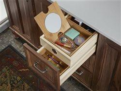 close up built in make up drawer in vanity