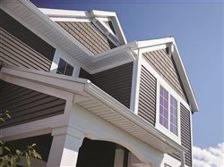 Close up of house siding and eves