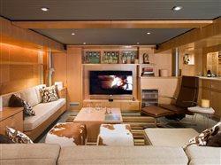 hardwood paneling in entertainment room