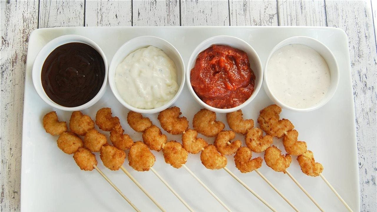 Shrimp on a stick with dipping sauce