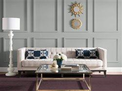 Painted paneled wall in trendy living room