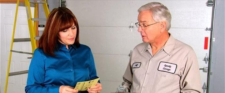 woman talking with man about the garage door