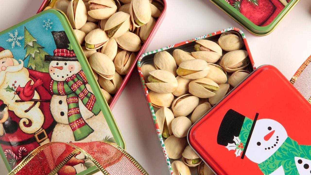 Pistachios in gift tins