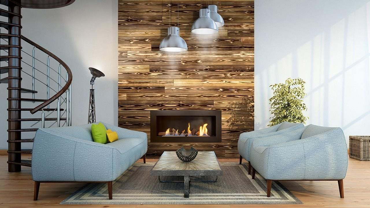 UFP-Edge Charred Wood used as a fireplace accent.