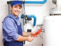 Man working on a water heater