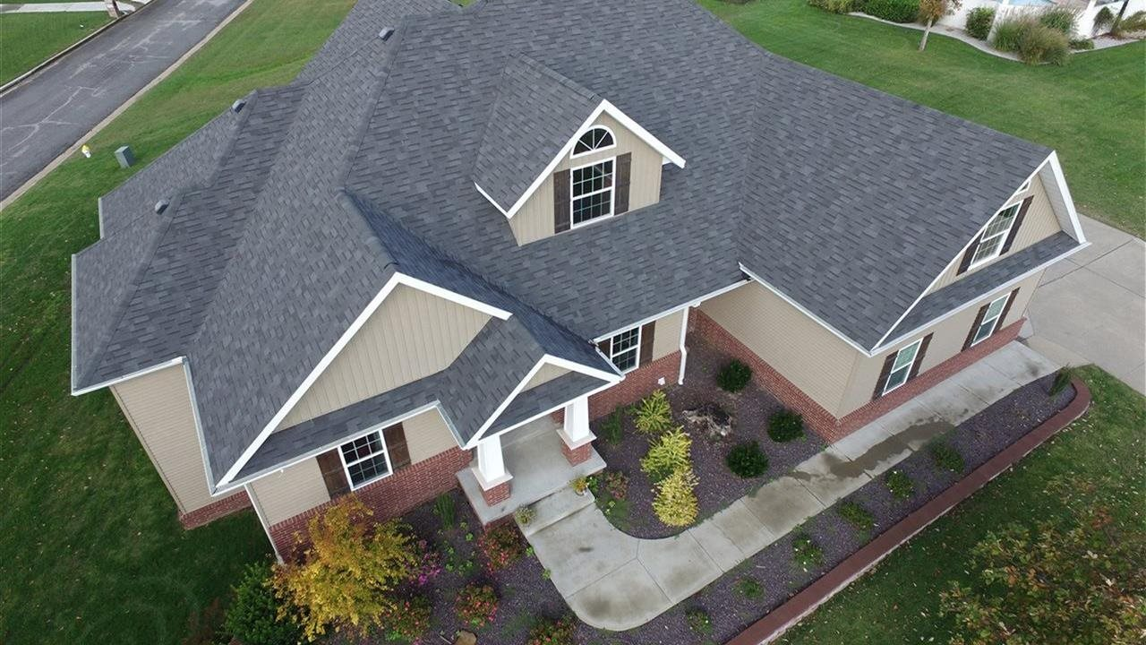 birds eye view of house roof
