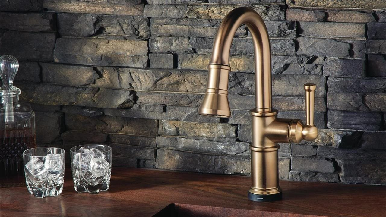 Artesso SmartTouch Pull-Down Prep Faucet by Brizo in upscale bar sink