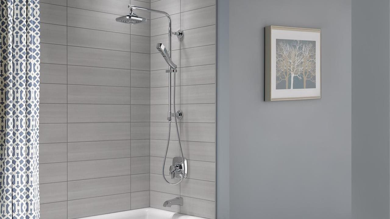 rainfall, handheld and tub faucet in shower