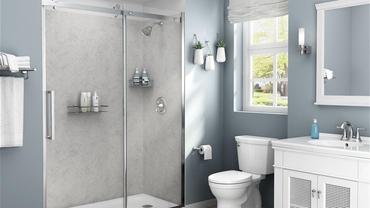 american standard champion series fixtures in a light blue bathroom