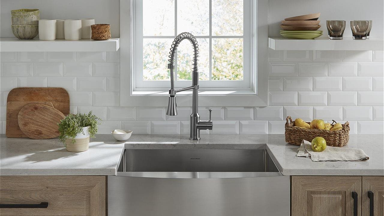 front apron front sink in kitchen when pot filler faucet