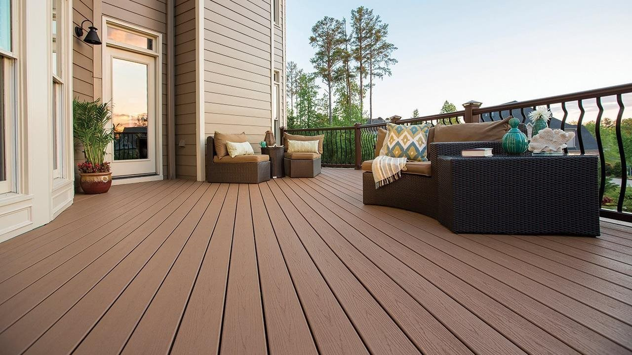 Beautiful refinished deck outdoors in summer