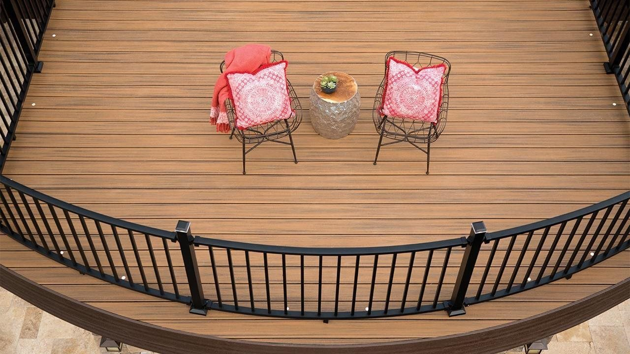 birds eye view of a beautiful deck and railing