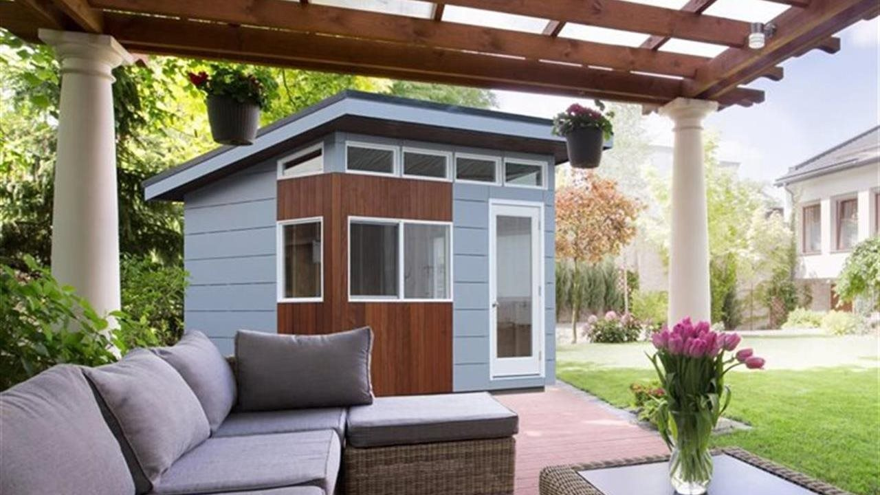 Outdoor pergola and shed in back yard.