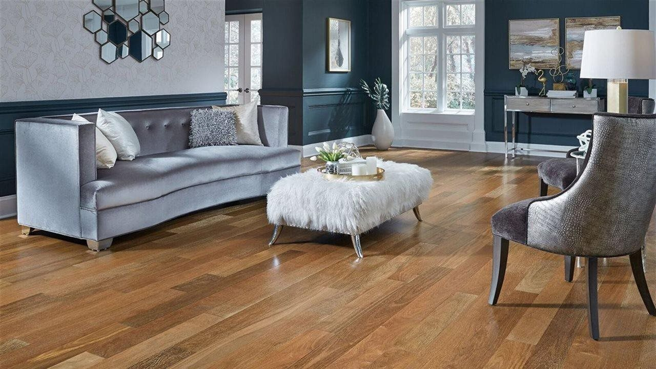 wood flooring and metal room accents