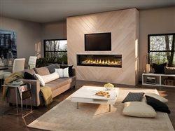 Luxuria LVX74 Birch fireplace in modern living room