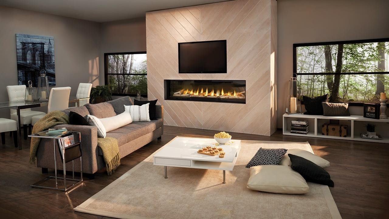Luxuria LVX74 Birch fireplace in modern living room