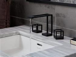 close up of ultra modern facet set in modern bathroom