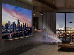 projection screen tv in entertainment area of home