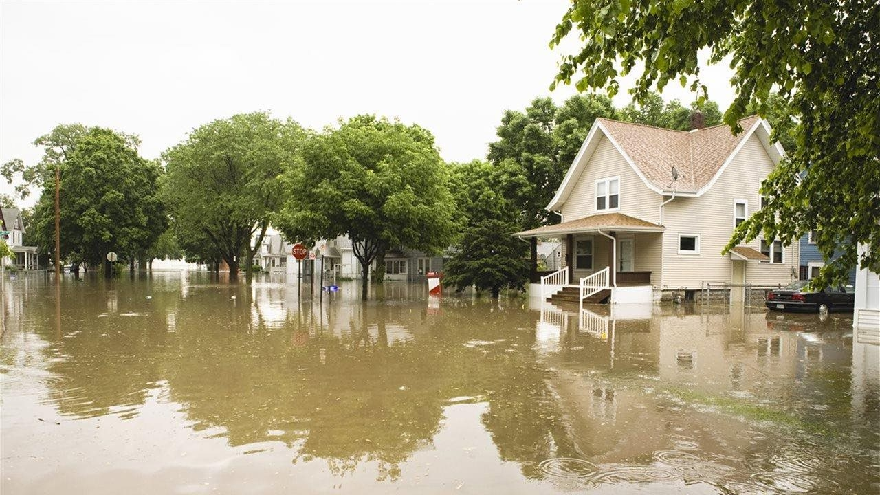 flooded house and street