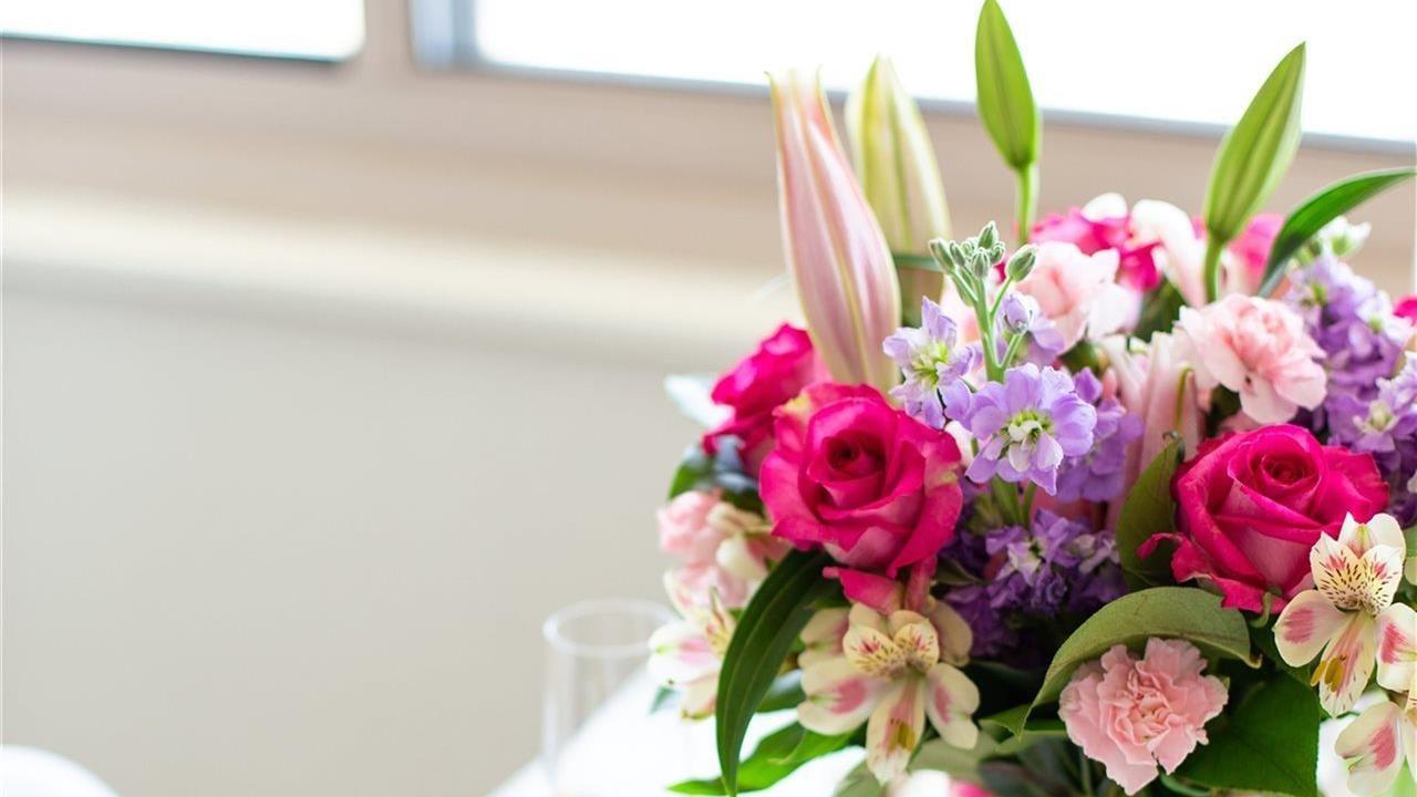 Lovely arrangement of fresh bright flowers