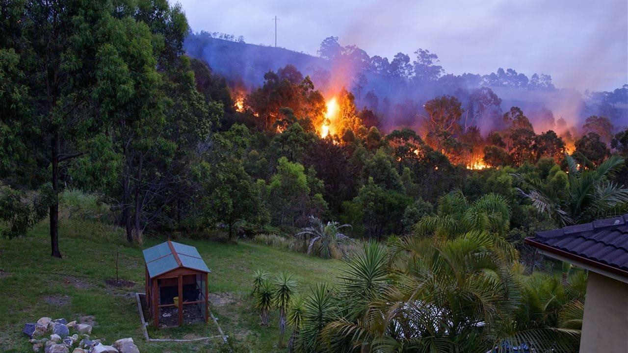 wild fire burning near homes