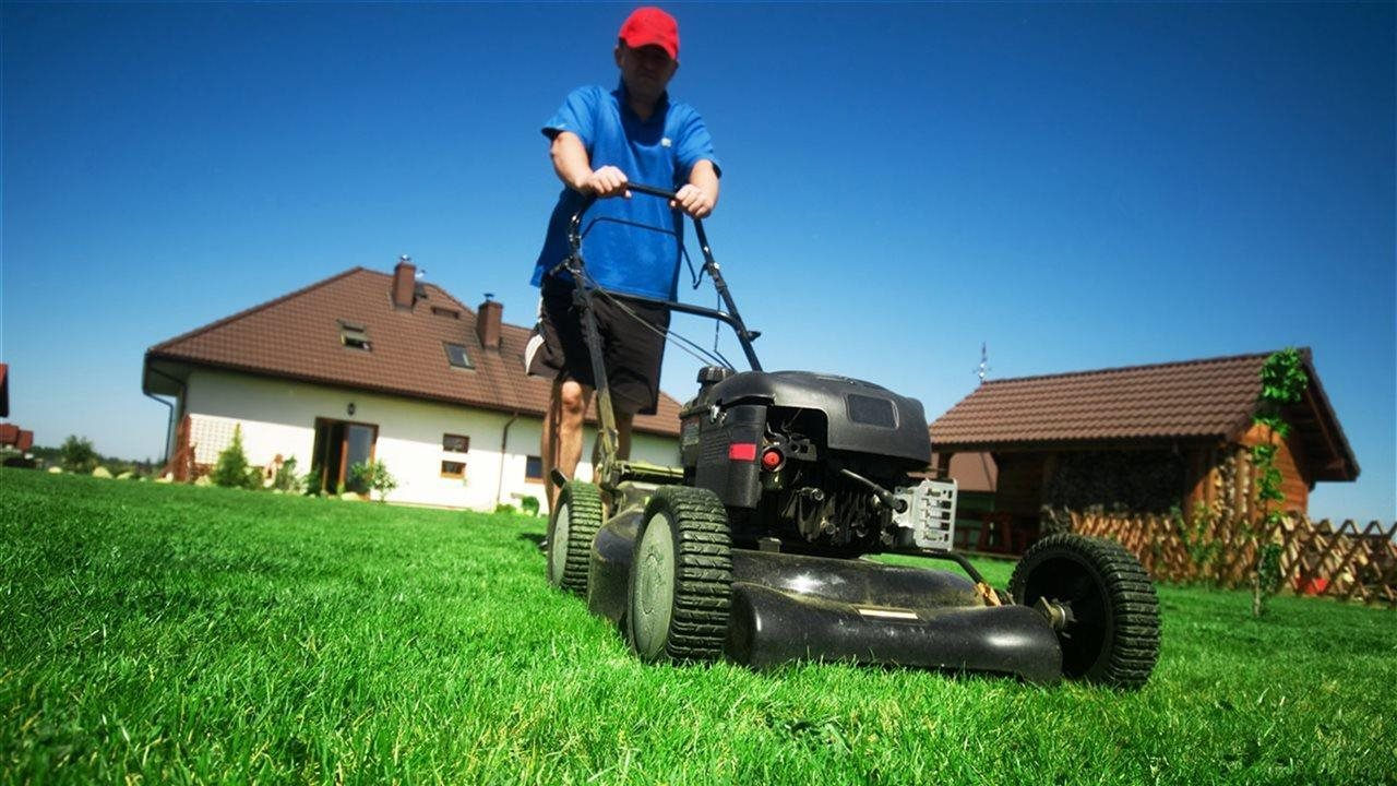 Man pushing lawn mower on grass on bright sunny day