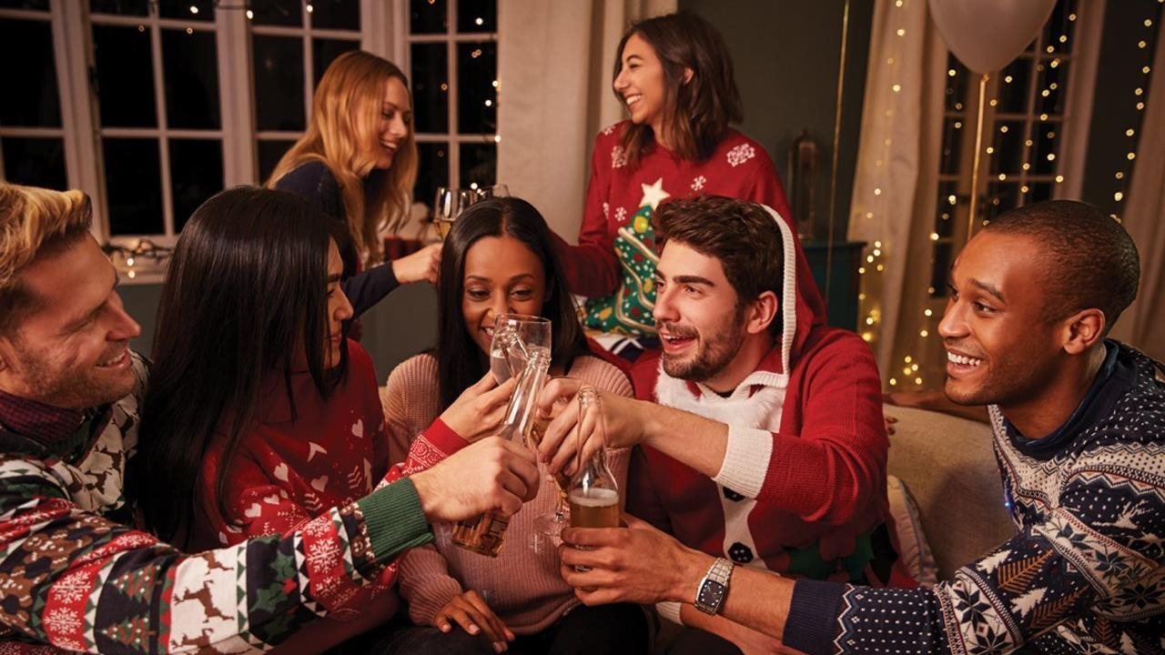friends celebrating the holidays at home
