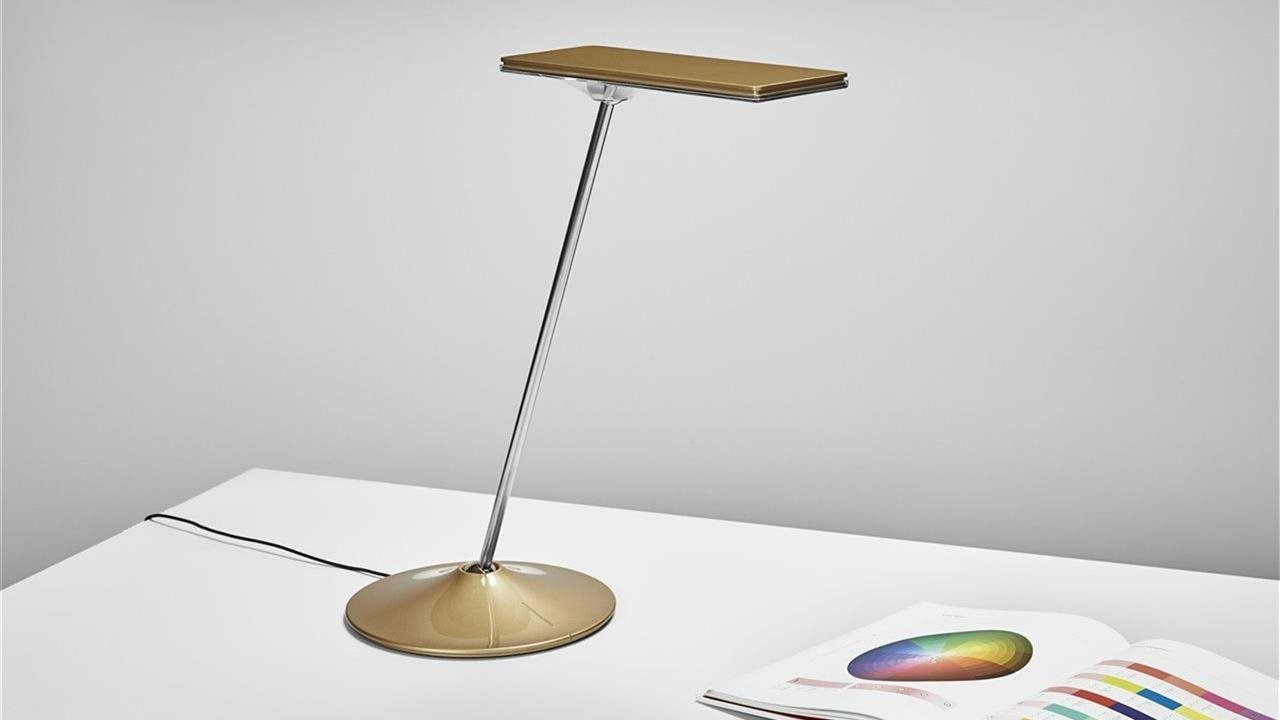 Humanscale Horizon 2.0 Bronze Gold light on a desk with a book open to color spectrim pages